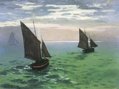 Claude Monet, Fishing Boats at Sea Fine Art Reproduction Oil Painting