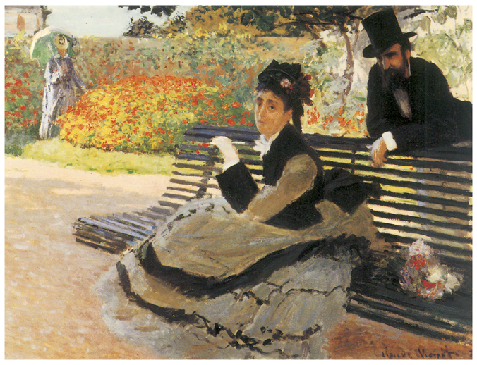 Claude Monet, Madame Monet on a Garden Bench Fine Art Reproduction Oil Painting
