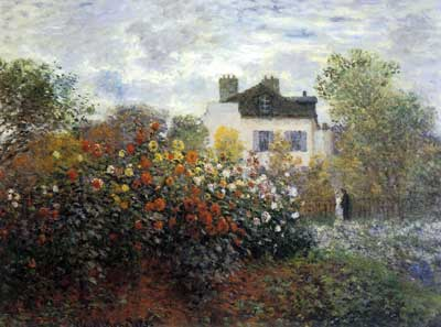 Claude Monet, Monets Garden at Argenteuil Fine Art Reproduction Oil Painting