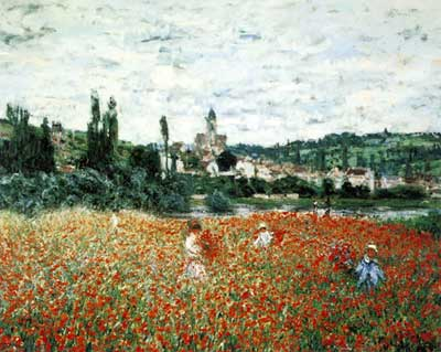 Claude Monet, Poppy Field near Vetheuil Fine Art Reproduction Oil Painting