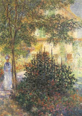 Claude Monet, Camille in the Garden of the House at Argenteuil Fine Art Reproduction Oil Painting