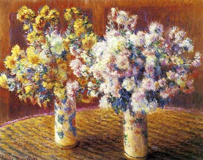 Claude Monet, Two Vases of Chrysanthemums Fine Art Reproduction Oil Painting