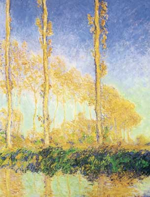 Claude Monet, The Poplars, Three Trees, Fall Fine Art Reproduction Oil Painting