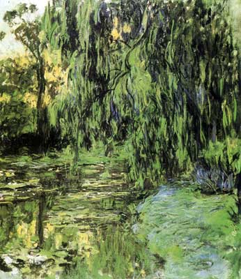 Claude Monet, View of the Water-Lily Pond with Willow Tree Fine Art Reproduction Oil Painting