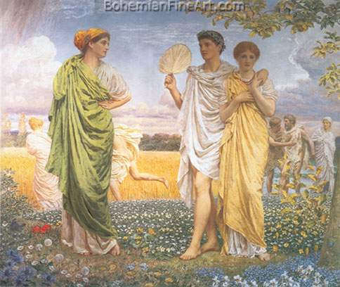 Albert Moore, The Loves of the Winds and the Seasons Fine Art Reproduction Oil Painting