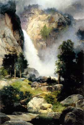 Thomas Moran, Cascade Falls, Yosemite Fine Art Reproduction Oil Painting