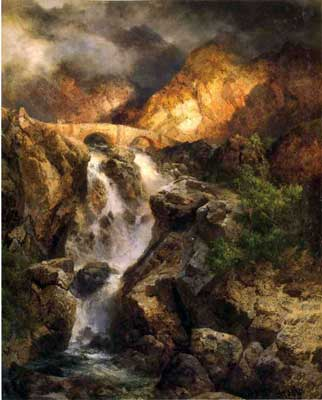 Thomas Moran, Cascading Water Fine Art Reproduction Oil Painting