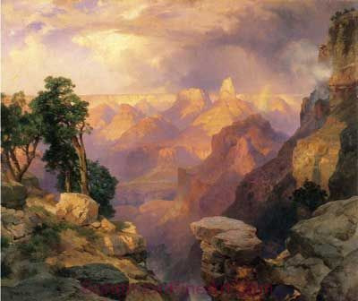 Thomas Moran, Grand Canyon with Rainbows Fine Art Reproduction Oil Painting