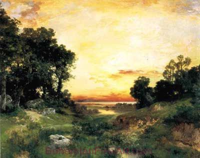 Thomas Moran, Sunset, Long Island Sound Fine Art Reproduction Oil Painting