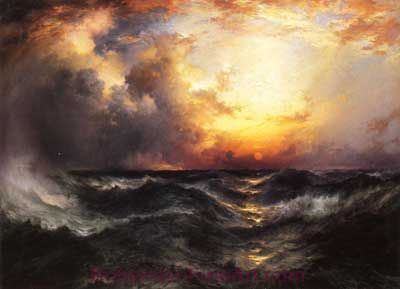 Thomas Moran, Sunset in Mid-Ocean Fine Art Reproduction Oil Painting
