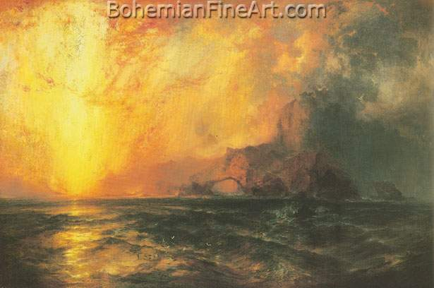 Thomas Moran, Fiecely the Red Sun Descending Burned Fine Art Reproduction Oil Painting