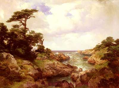 Thomas Moran, Monterey Coast Fine Art Reproduction Oil Painting