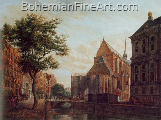 Isaak Ouwater, View in Amsterdam of the Nieuwe Kerk Fine Art Reproduction Oil Painting