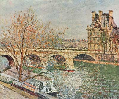 Camille Pissarro, The Pont Royal and the Pavillion de Flore Paris Fine Art Reproduction Oil Painting