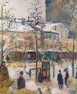 Camille Pissarro, Boulevard de Rocheouart in Snow Fine Art Reproduction Oil Painting