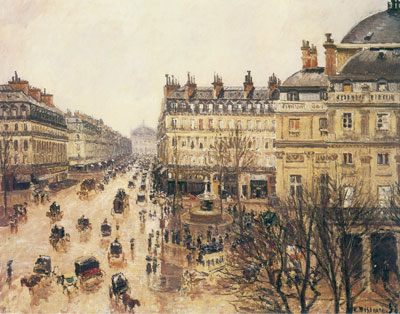 Camille Pissarro, Place du Theatre Francais+ Rain Fine Art Reproduction Oil Painting