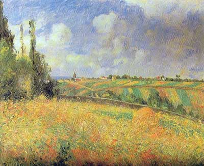 Camille Pissarro, Rye Fields at Pontoise Fine Art Reproduction Oil Painting