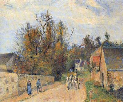 Camille Pissarro, The Mailcoach, The Road from Emery Fine Art Reproduction Oil Painting