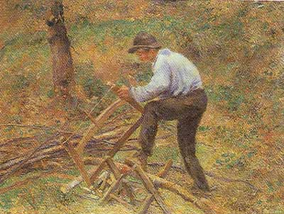 Camille Pissarro, The Woodcutter Fine Art Reproduction Oil Painting