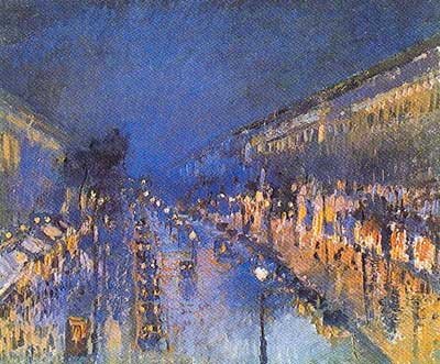 Camille Pissarro, The Boulevard Montmatre at Night Fine Art Reproduction Oil Painting
