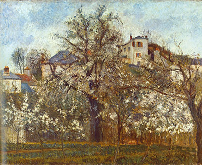 Camille Pissarro, Orchard with Flowering Fruit Trees+ Pontoise Fine Art Reproduction Oil Painting