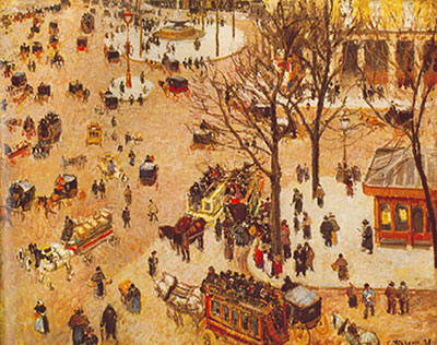 Camille Pissarro, Place de Theatre, Francais Fine Art Reproduction Oil Painting