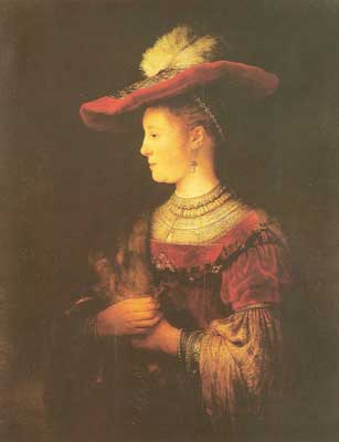 Harmenszoon Rembrandt, Portrait of Saskia with Hat Fine Art Reproduction Oil Painting