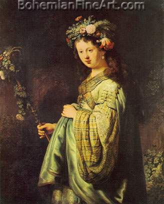 Harmenszoon Rembrandt, Saskia as Flora Fine Art Reproduction Oil Painting
