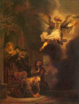Harmenszoon Rembrandt, The Angel Departing from the Family of Tobias Fine Art Reproduction Oil Painting