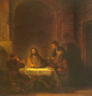 Harmenszoon Rembrandt, Christ at Emmaus Fine Art Reproduction Oil Painting