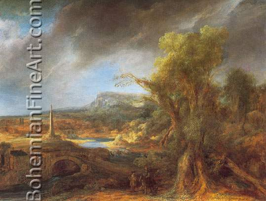 Harmenszoon Rembrandt, Landscape with an Obelisk Fine Art Reproduction Oil Painting