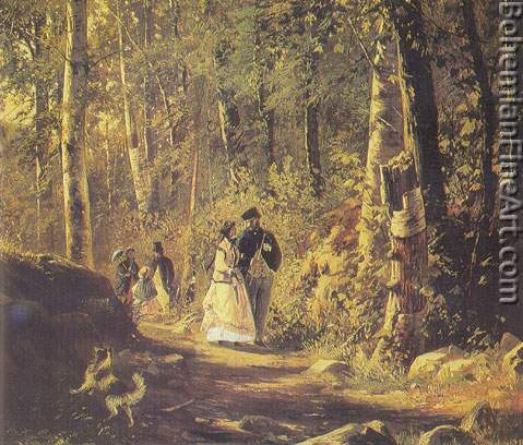 Ivan Shiskin, A Stroll in the Forest Fine Art Reproduction Oil Painting