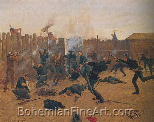 Charles Shyreyvogel, Defending the Stockade Fine Art Reproduction Oil Painting