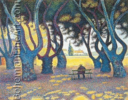 Paul Signac, Plane Trees, Place des Lices, Saint Tropez Fine Art Reproduction Oil Painting