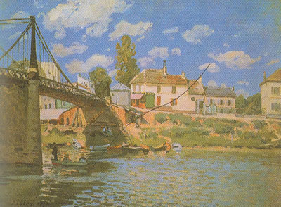 Alfred Sisley, The Bridge at Villeneuve  La Garenne Fine Art Reproduction Oil Painting