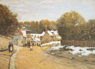 Alfred Sisley, Early Snow at Louveciennes Fine Art Reproduction Oil Painting