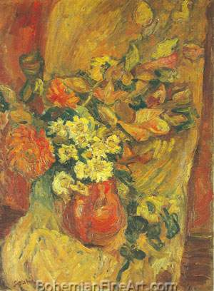 Chaim Soutine, Flowers in a Pot on a Chair Fine Art Reproduction Oil Painting