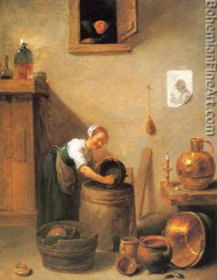 David Teniers the Younger, Young Girl Scouring a Pot Fine Art Reproduction Oil Painting
