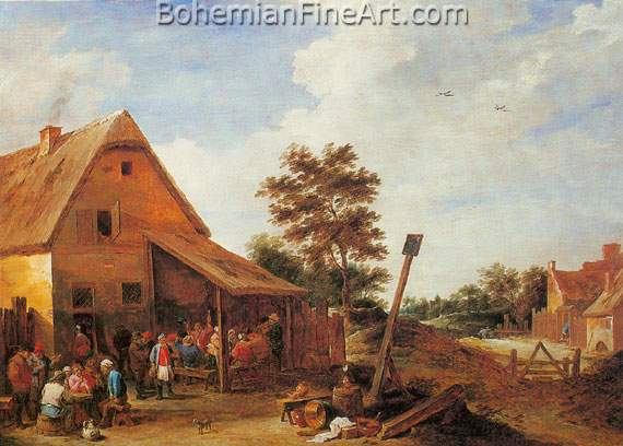 David Teniers the Younger, Peasants Merrymaking before an Inn Fine Art Reproduction Oil Painting