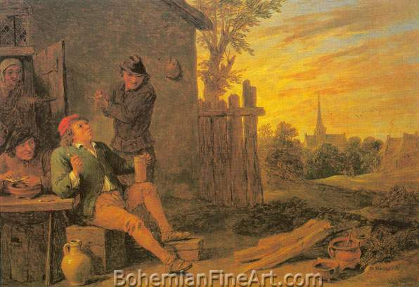 David Teniers the Younger, Before the Tavern Fine Art Reproduction Oil Painting