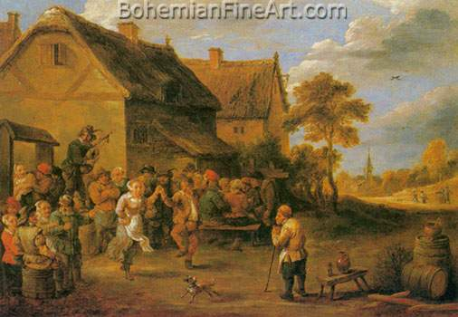 David Teniers the Younger, Villagers Dancing and Merrymaking Fine Art Reproduction Oil Painting