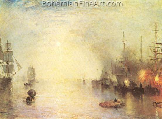 Joseph Mallord William Turner, Keelmen Heaving in Coals by Night Fine Art Reproduction Oil Painting