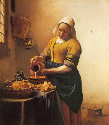 Johannes Vermeer, The Milkmaid Fine Art Reproduction Oil Painting