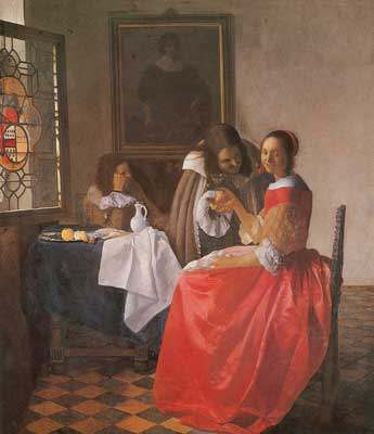Johannes Vermeer, The Girl with the Wine Glass Fine Art Reproduction Oil Painting