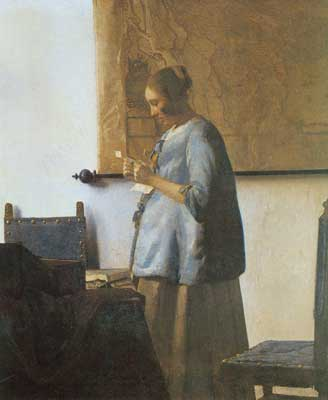 Johannes Vermeer, Woman in Blue Reading a Letter Fine Art Reproduction Oil Painting