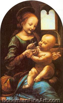 Leonardo Da Vinci, The Benois Madonna Fine Art Reproduction Oil Painting