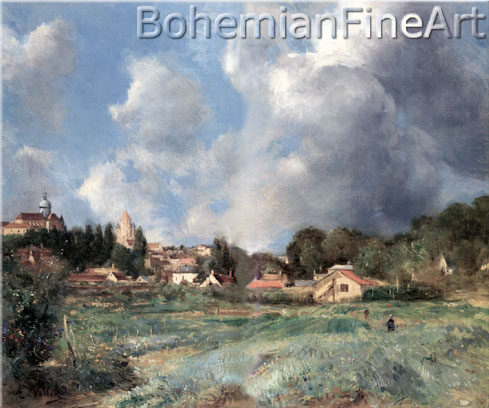 Antoine Vollon, View of the Town of Provins Fine Art Reproduction Oil Painting