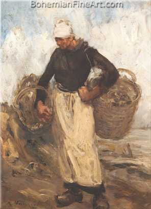 Antoine Vollon, A Fisherwoman Carrying Baskets Fine Art Reproduction Oil Painting