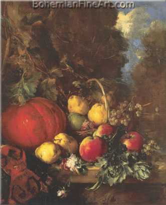 Antoine Vollon, Still Life with a Pumpkin and a Basket of Fruit Fine Art Reproduction Oil Painting