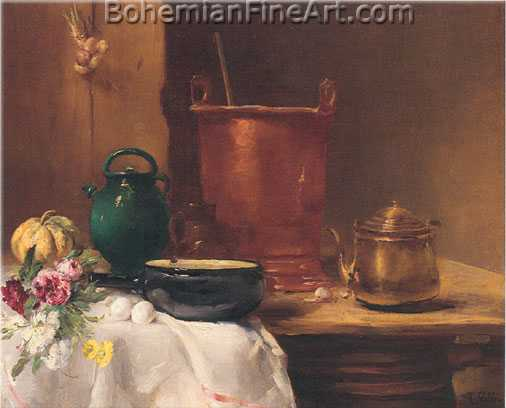 Antoine Vollon, Still Life with a Copper Cauldron Fine Art Reproduction Oil Painting